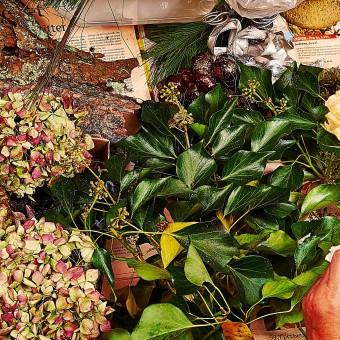 Naturens smukke materialer indgår smukt -bark- kastanier vedben-og efterårshortensia.